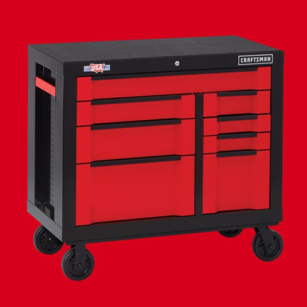 CRAFTSMAN 3000 Series 41-in W x 37-in H 8-Drawer Steel Rolling Tool Cabinet (Red)