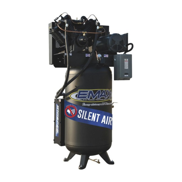 EMAX Industrial Silent Air 7.5 HP, 2-Stage, 80-Gallon Vertical Air Compressor - 208/230 Volt, 1-Phase