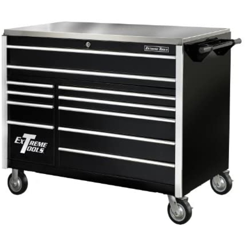 Extreme Tools Ex Professional Series 76 In. 12-Drawer Roller Cabinet Includes Vertical Drawer with Power Strip, Black