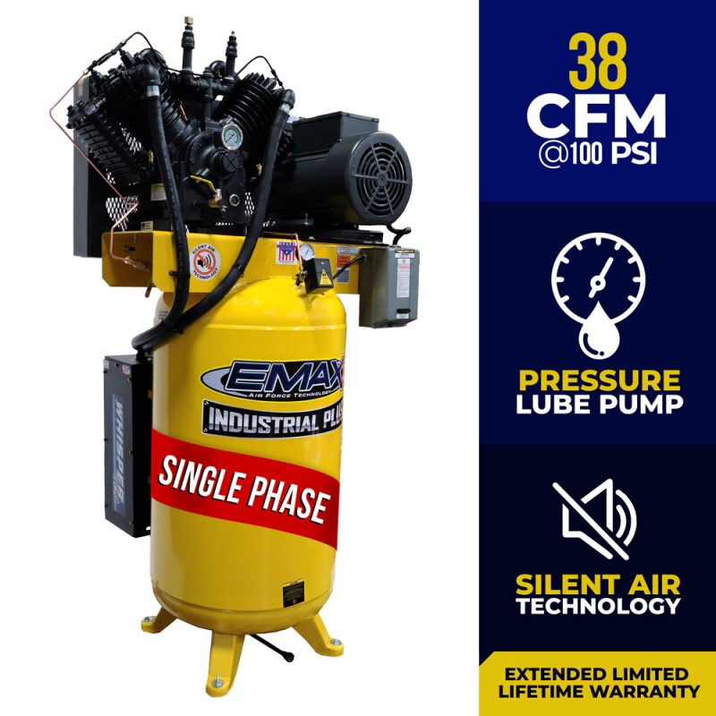 EMAX Industrial Silent Air 10 HP, 2-Stage, 80-Gallon Vertical Air Compressor - 230 Volt, 1-Phase