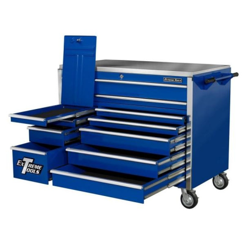 Extreme Tools 72 In. 19 Drawer Roller Cabinet, Blue