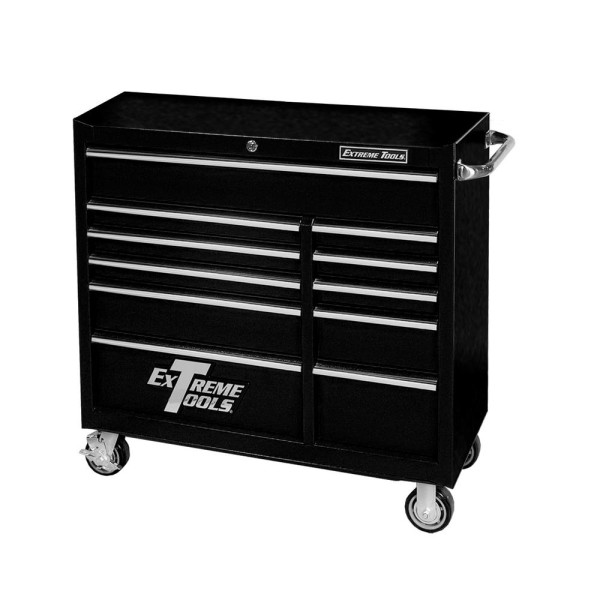 Extreme Tools 41-in 11-Drawer Roller Cabinet, Black