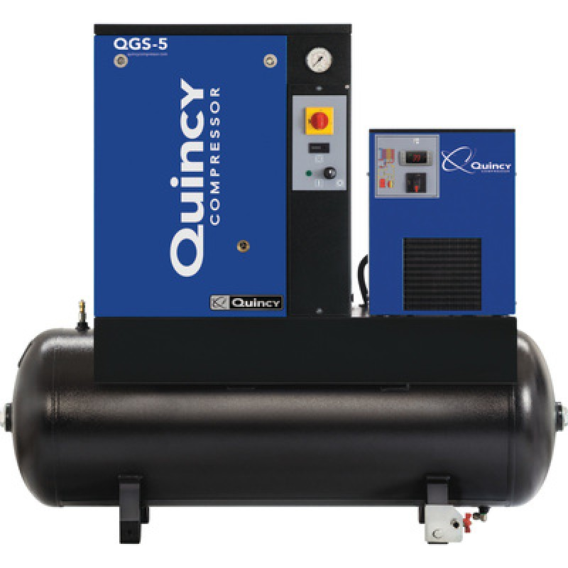 Quincy QGS-10 Rotary Screw Compressor - 39.6 CFM at 125 PSI, 3-Phase, 120-Gallon Horizontal, Tank-Mount with Dryer