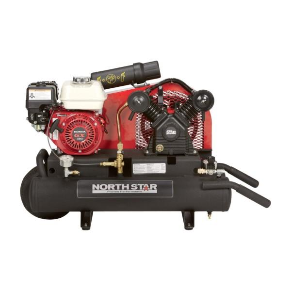 NorthStar Gas-Powered Air Compressor - Honda GX160 OHV Engine, 8-Gallon Twin Tank, 13.7 CFM 90 PSI