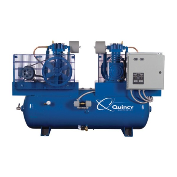 Quincy Duplex Air Compressor - 7.5 HP, 230 Volt 3 Phase, 120 Gallon Horizonta