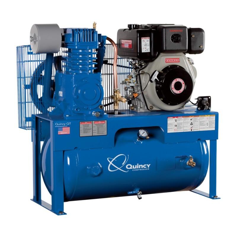 Quincy QP-10 Pressure Lubricated Reciprocating Air Compressor - 10 HP Yanmar Diesel Engine, 30 Gallon Horizontal