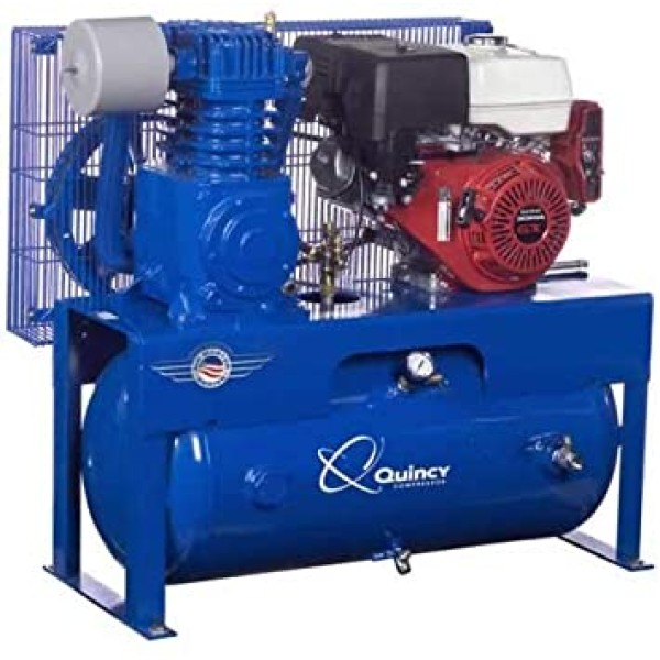 Quincy QP-7.5 Pressure Lubricated Reciprocating Air Compressor - 13 HP, Honda Gas Engine, 30-Gallon Horizontal
