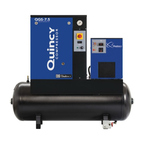 Quincy QGS Rotary Screw Compressor with Dryer - 7.5 HP, 230 Volt Single Phase, 60 Gallon, 21.2 CFM
